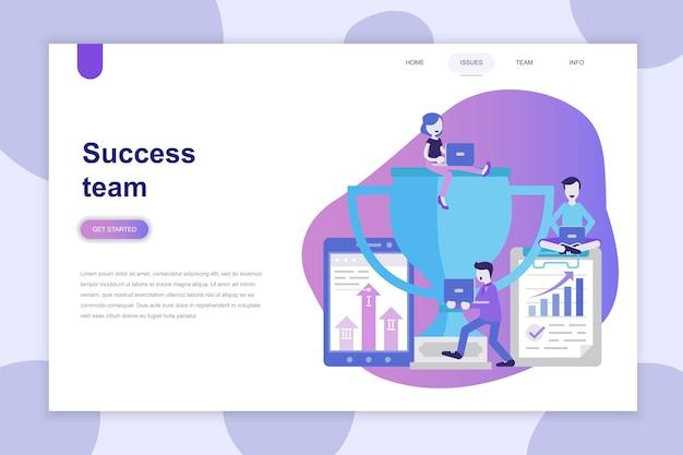 Modern vlak ontwerpconcept succesteam voor website