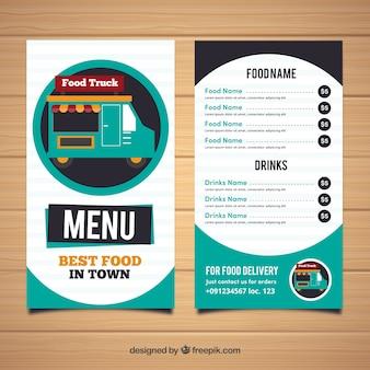 Modern voedsel truck menu met cirkels