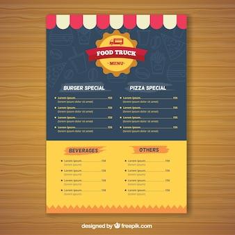 Modern voedselwagen menu met vlak ontwerp