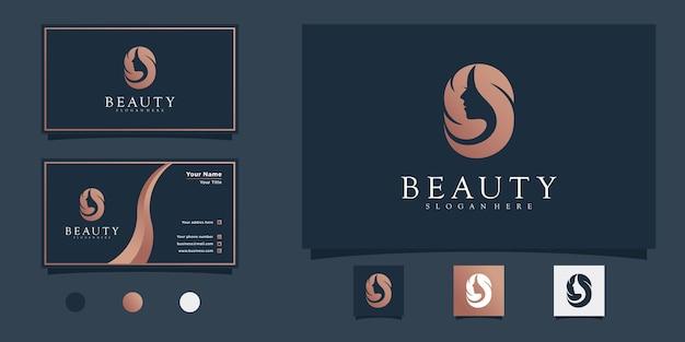 Modern vrouwenkapsalon logo-ontwerp met schoonheidsverloopkleurconcept en visitekaartje premium vekto