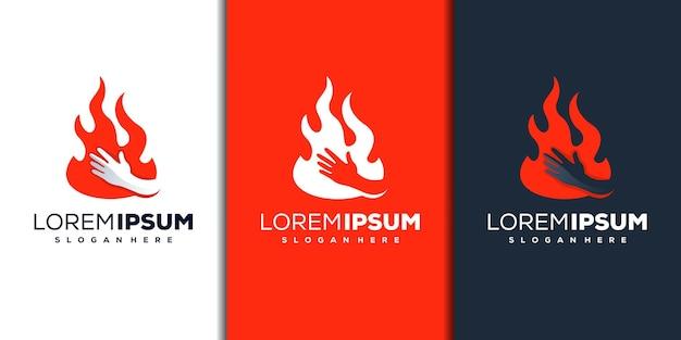 Modern vuur- en handlogo-ontwerp