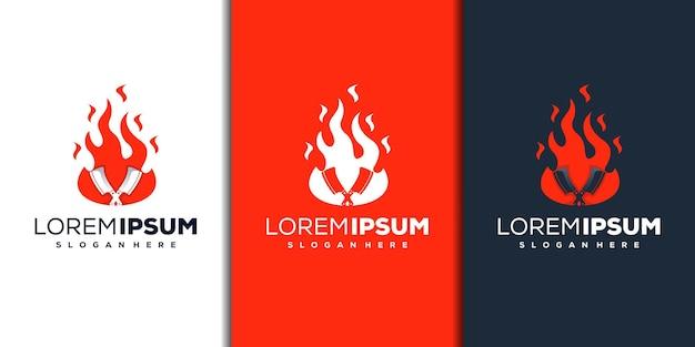 Modern vuur en mes logo-ontwerp