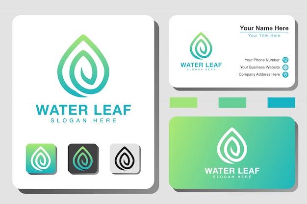 Modern waterblad lijntekeningen verloop logo met visitekaartje ontwerp