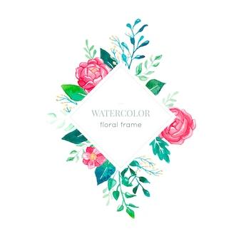 Modern waterverf bloemenkader