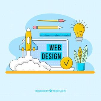 Modern web design concept met de hand getekend stijl