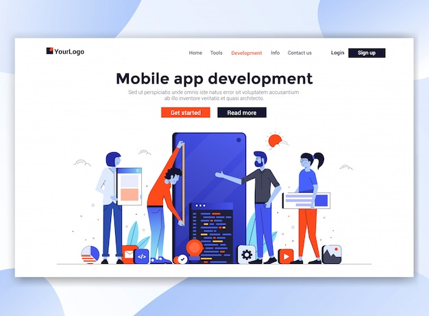 Modern website sjabloon - mobiele app ontwikkeling