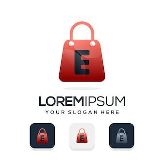 Modern winkellogo met letter e-logosjabloon