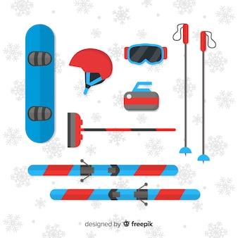 Modern wintersportuitrusting met plat ontwerp