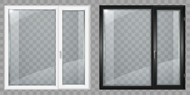 Modern wit en zwart kunststof breed raam