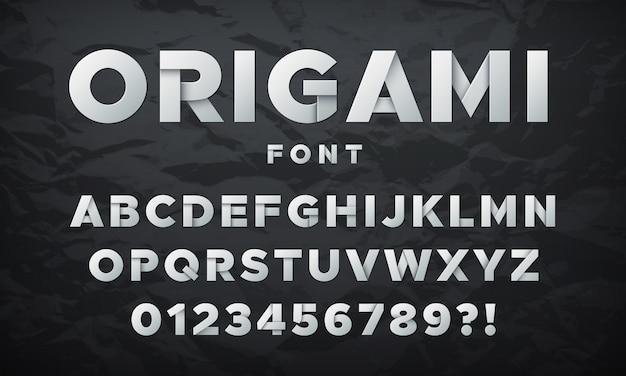 Modern witboek lettertype. origami gevouwen letters en cijfers