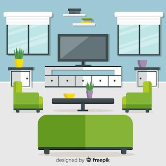 Modern woonkamerbinnenhuisontwerp met vlak ontwerp