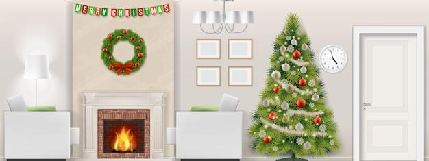 Modern woonkamerbinnenland met kerstboom, meubilair en open haard. vector illustratie.