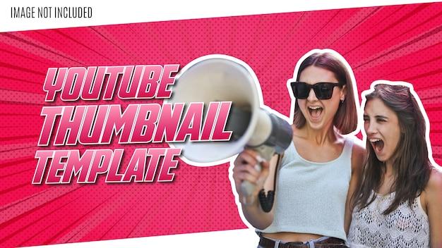 Modern youtube thumbnail design met roze komische achtergrond