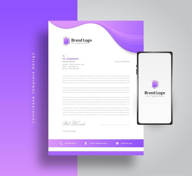 Modern zakelijk briefhoofdsjabloonontwerp met futuristisch concept in paars verloop en smartphone aan de zijkant