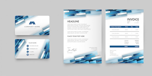 Modern zakelijk briefpapierpakket met abstracte blauwe vormen