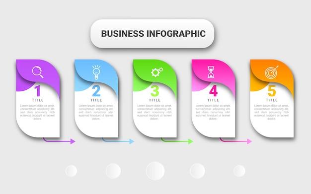 Modern zakelijk infographic sjabloonelement 5 stappen