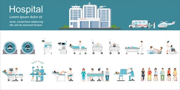 Modern ziekenhuisgebouw en gezondheidszorg infographics.