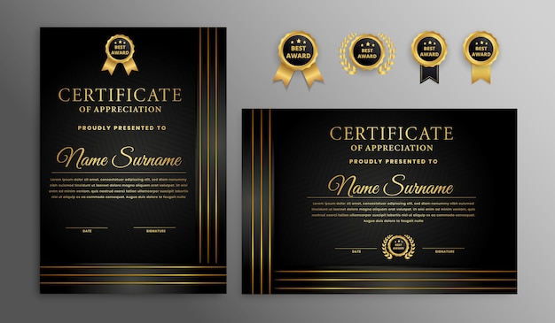 Modern zwart en goud luxe certificaat met frame-rand
