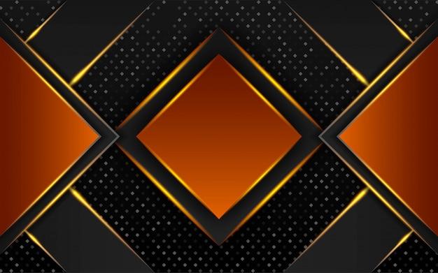 Modern zwart en oranje premium vector achtergrondontwerp van de banner met gouden lijn in stippen textuur.