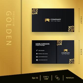 Modern zwart gouden visitekaartje met luxestijl en elegant sjabloon