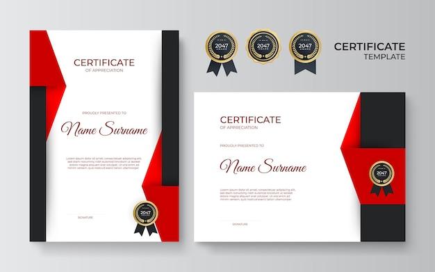 Modern zwart rood certificaat