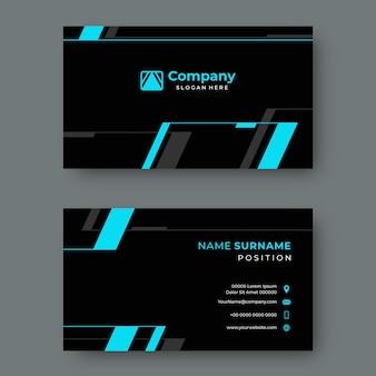 Modern zwart visitekaartje met blauwe geometrische lijnen vector ontwerpsjabloon
