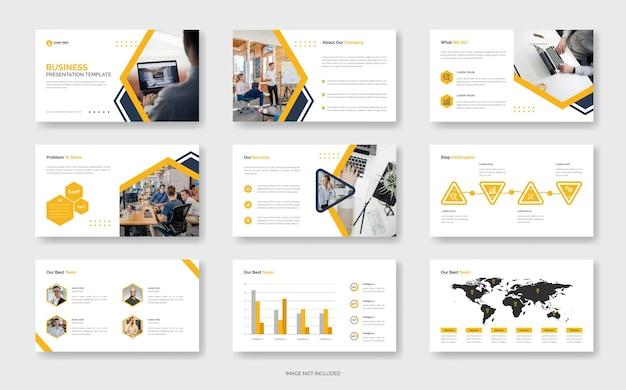 Modernbusiness powerpoint-presentatiesjabloon of bedrijfsprofielsjabloon