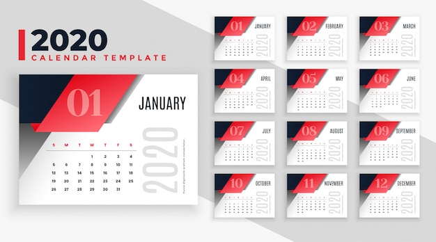 Moderne 2020 kalender lay-out sjabloon