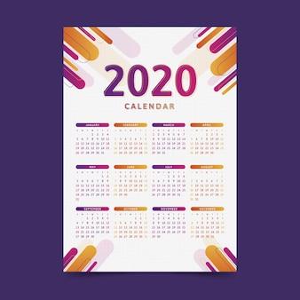 Moderne 2020 kalendersjabloon