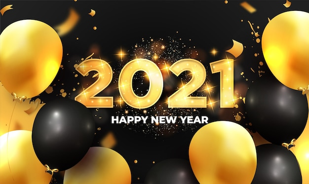 Moderne 2021 gelukkig nieuwjaar achtergrond met realistische ballonnen samenstelling