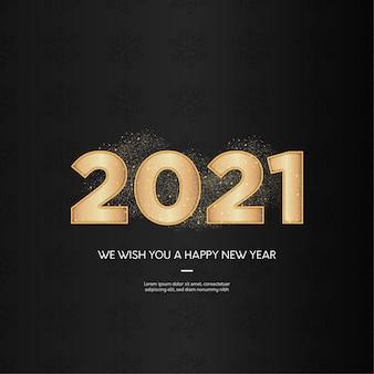 Moderne 2021 gelukkig nieuwjaar achtergrond met realistische gouden cijfers