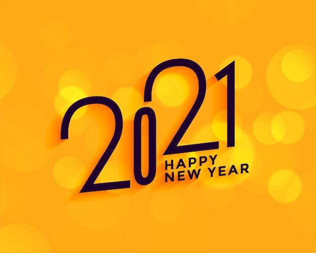 Moderne 2021 gelukkig nieuwjaar gele achtergrond