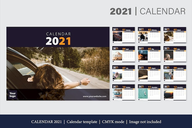 Moderne 2021 kalendersjabloon