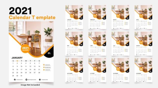Moderne 2021 zakelijke stijl kalender ontwerpsjabloon