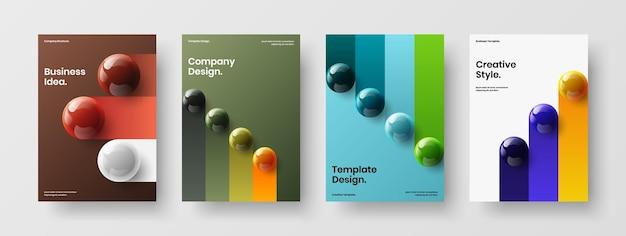 Moderne 3d-bollen bedrijfsbrochure concept collectie