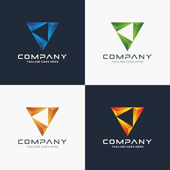Moderne 3d-driehoekslogo ontwerpsjabloon