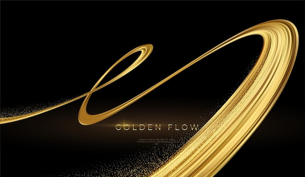Moderne 3d gouden stroom op zwarte achtergrond