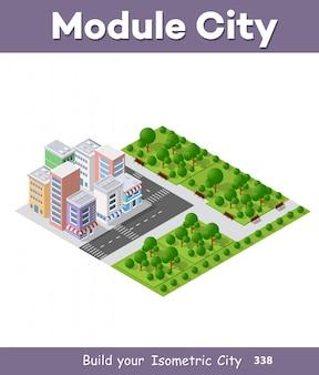Moderne 3d-isometrische stad