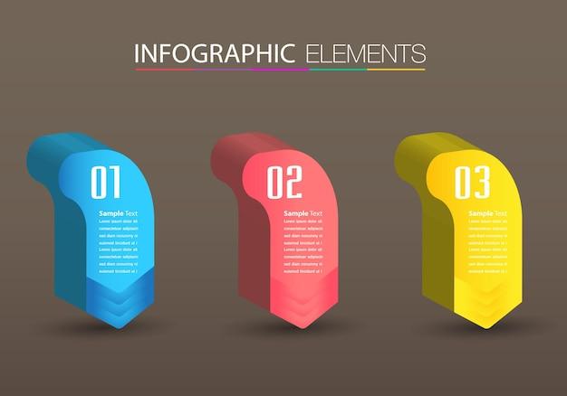 Moderne 3d-tekstvak sjabloon, banner infographics