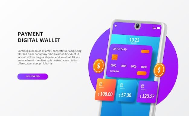 Moderne 3d telefoon digitale e-commerce portemonnee transactie elektronische illustratie concept met creditcard en gouden munt