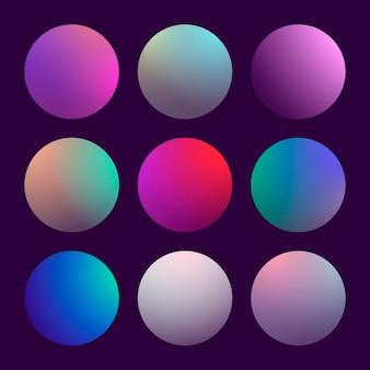 Moderne 3d-verloopset met ronde abstracte achtergronden.