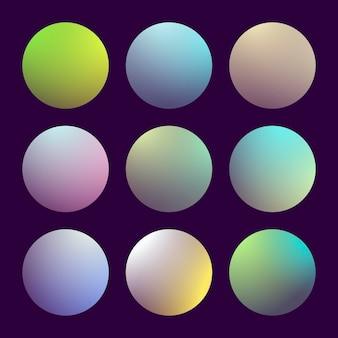 Moderne 3d-verloopset met ronde abstracte achtergronden