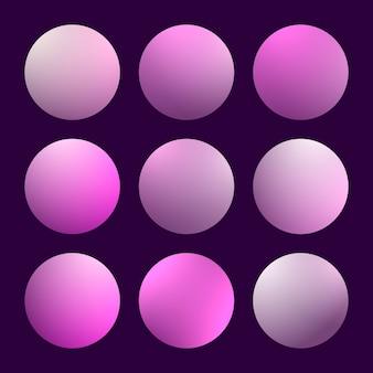 Moderne 3d-verloopset met ronde abstracte vloeiende hoezen.