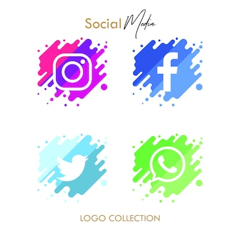 Moderne 4 populaire social media-collectie