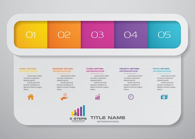 Moderne 5 opties presentatie zakelijke infographics