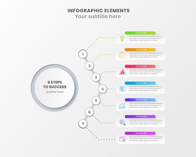 Moderne 7 stappen infographic naar succeszaken met pictogram