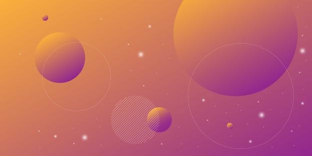 Moderne abstracte achtergrond met cirkellijnen in oranje en paarse gradatie met een thema van digitale technologie.
