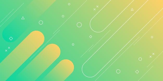 Moderne abstracte achtergrond met memphis elementen en gele en groene thema verloopkleuren.