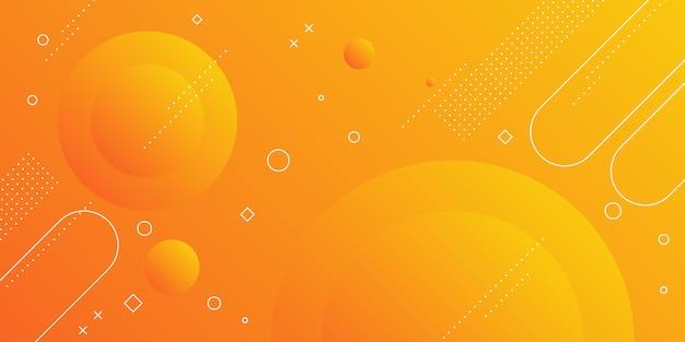Moderne abstracte achtergrond met memphis elementen in gele en oranje verlopen en retro thema voor posters, banners en landingspagina's voor websites.