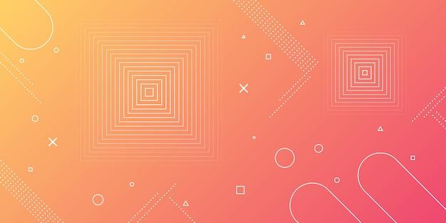 Moderne abstracte achtergrond met memphis elementen in rode en oranje verlopen en retro thema voor posters, banners en landingspagina's voor websites.